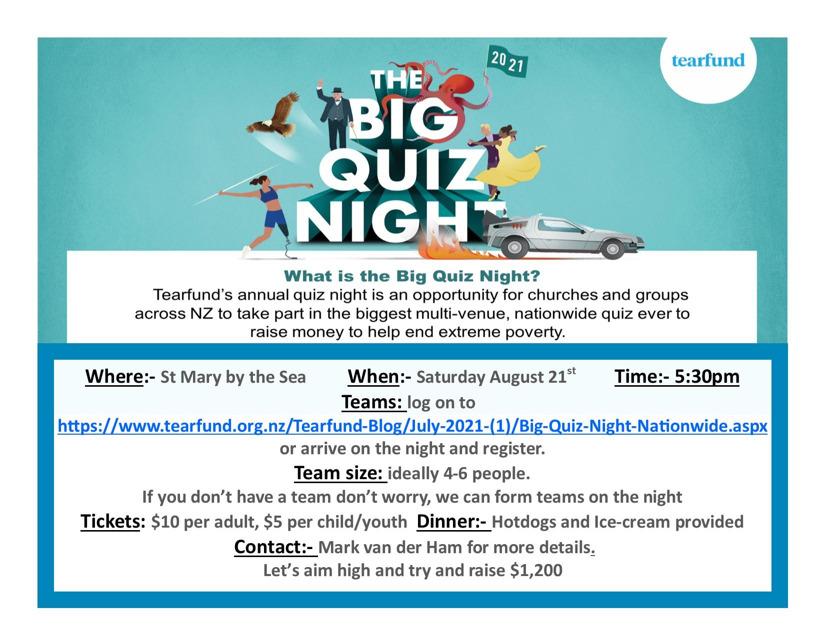 BIg Quiz night advert